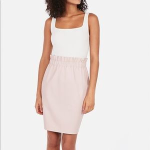 Express Light Pink Faux Leather Pencil Skirt